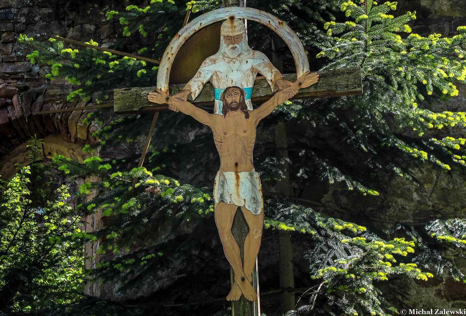 Krzyż z Chrystusem wyciętym z blachy, Nowy Kościół pow. złotoryjski